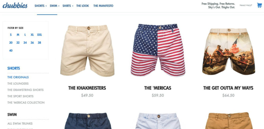 example of product page that lists most popular items first.