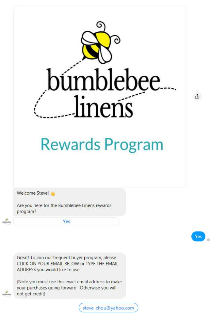 Rewards program bumblebee liens.