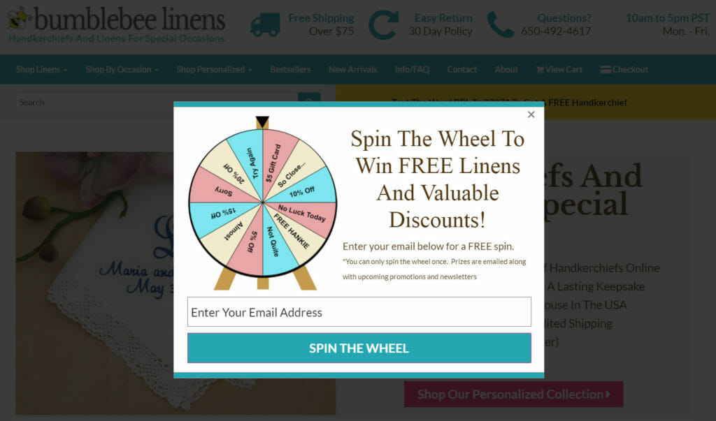 Spin to win popup.