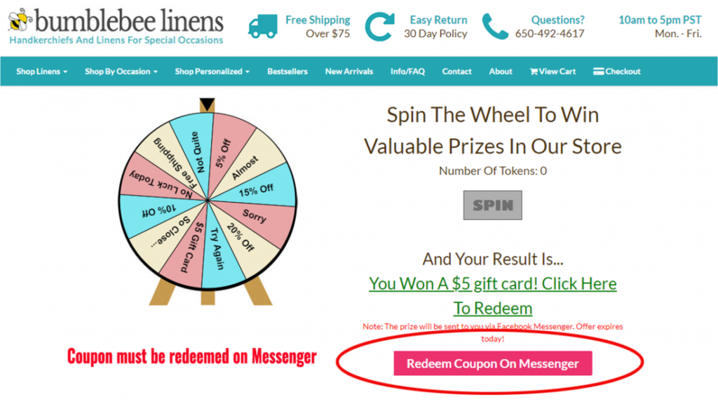 Reedem coupon on messenger.