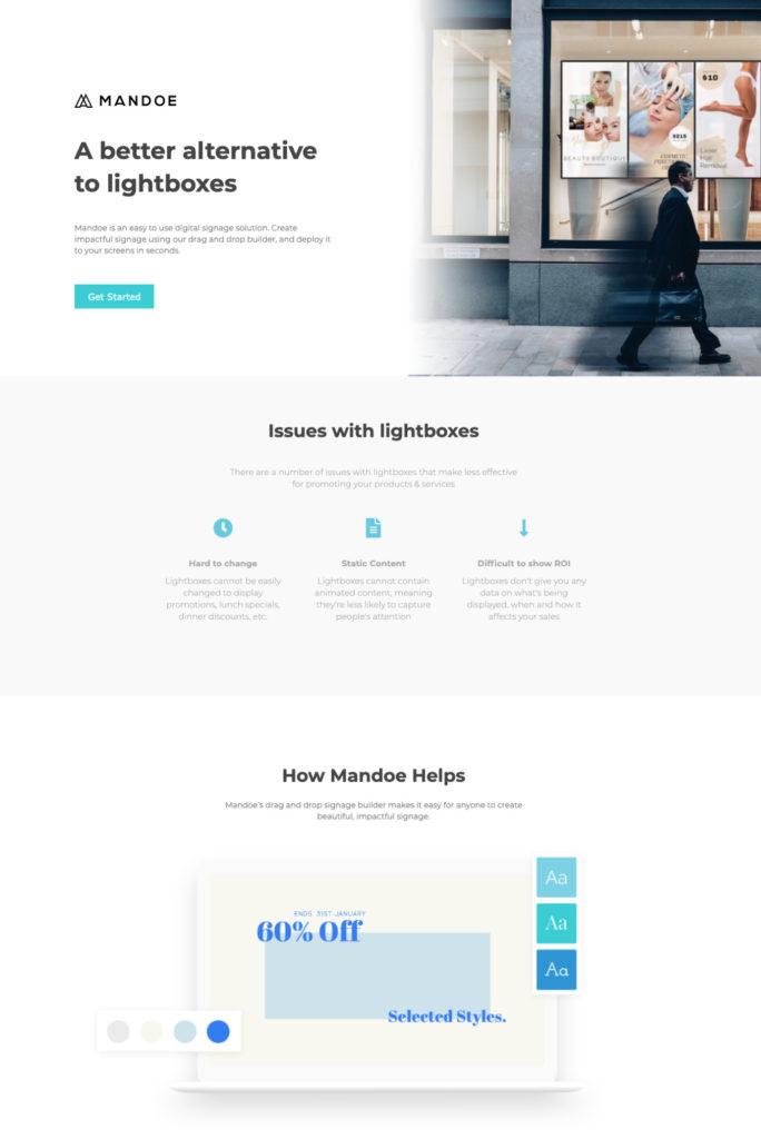 Mandoe product page.