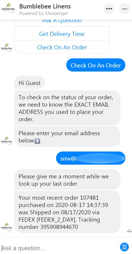 Check on an order.