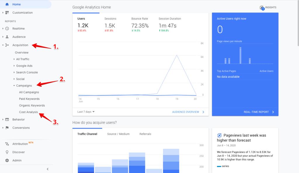Google Analytics home dashboard.