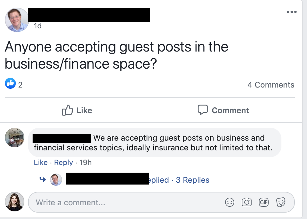 Facebook guest posts.
