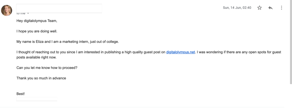 Example of guest post outreach.