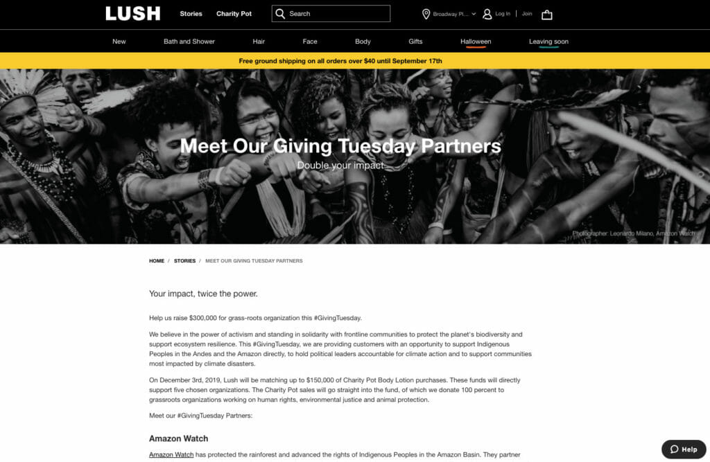 Lush charity partners.