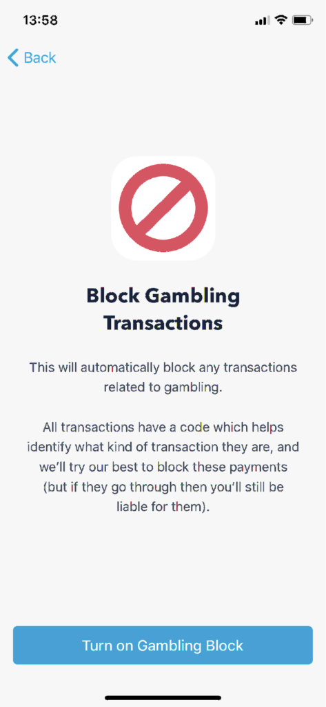 Block gambling transactions.