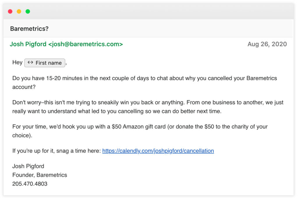 Baremtrics followup email.