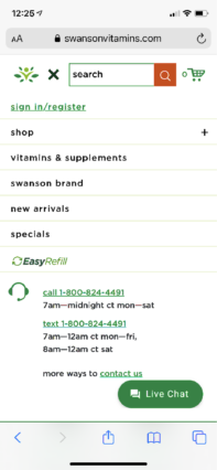 mobile menu with contact information.