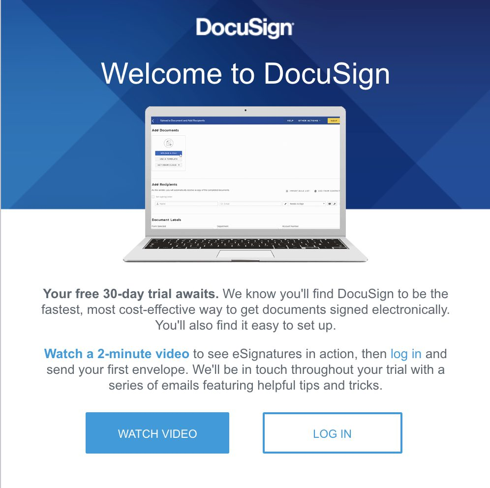 DocuSign trial email.