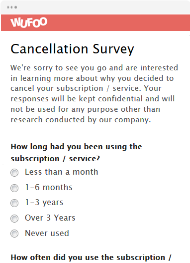 wufoo cancellation survey.