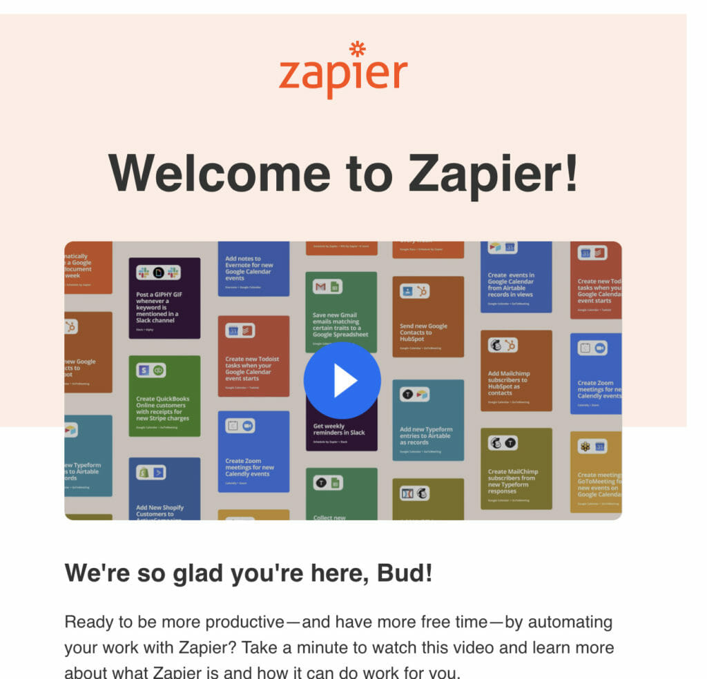 Welcome to Zapier email.