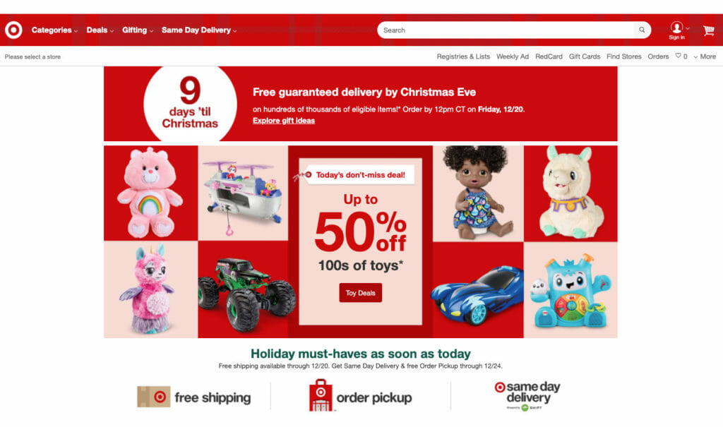 Target holiday homepage.