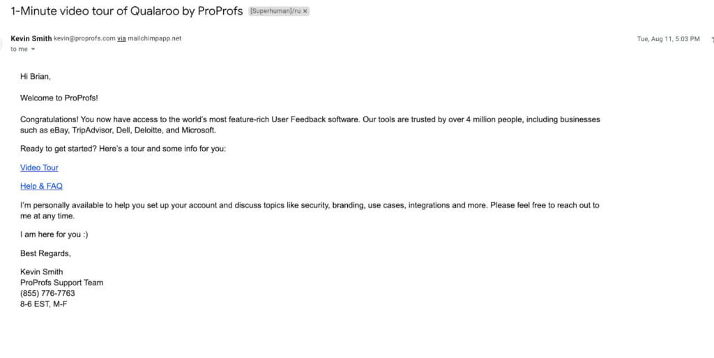 ProProfs email.