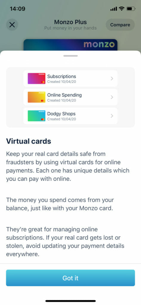 Monzo plus.