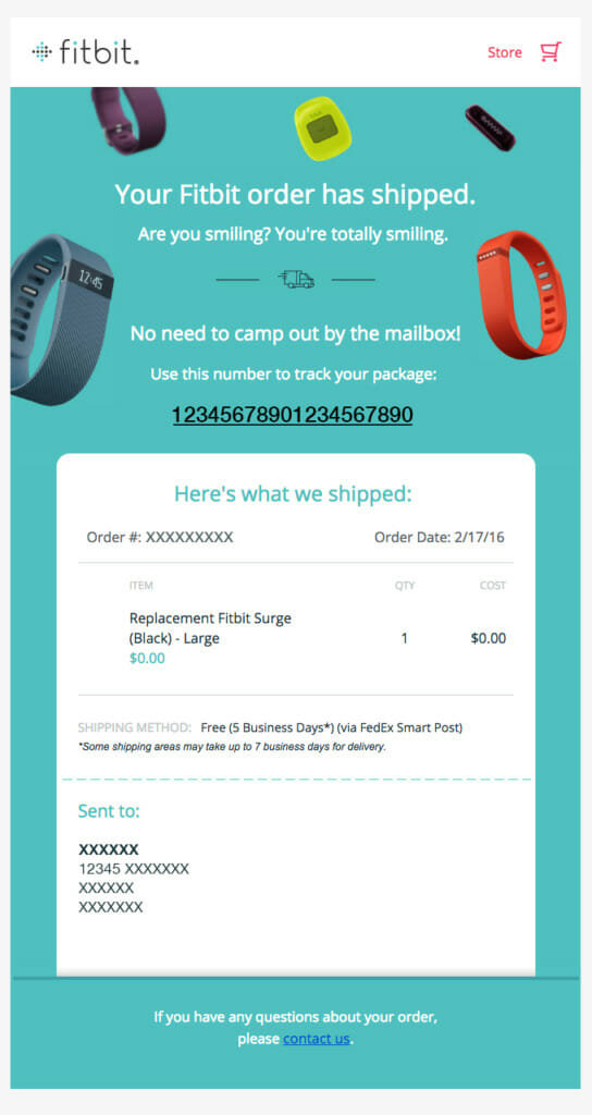 Fitbit order has shipped.