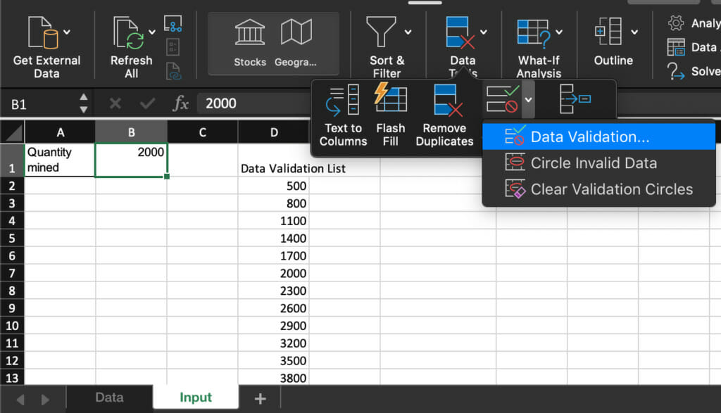 set values for inputs.