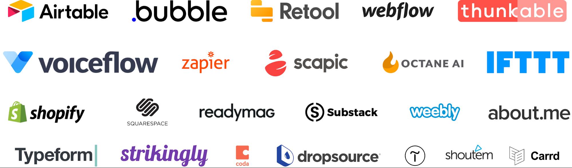 Popular no-code tools.