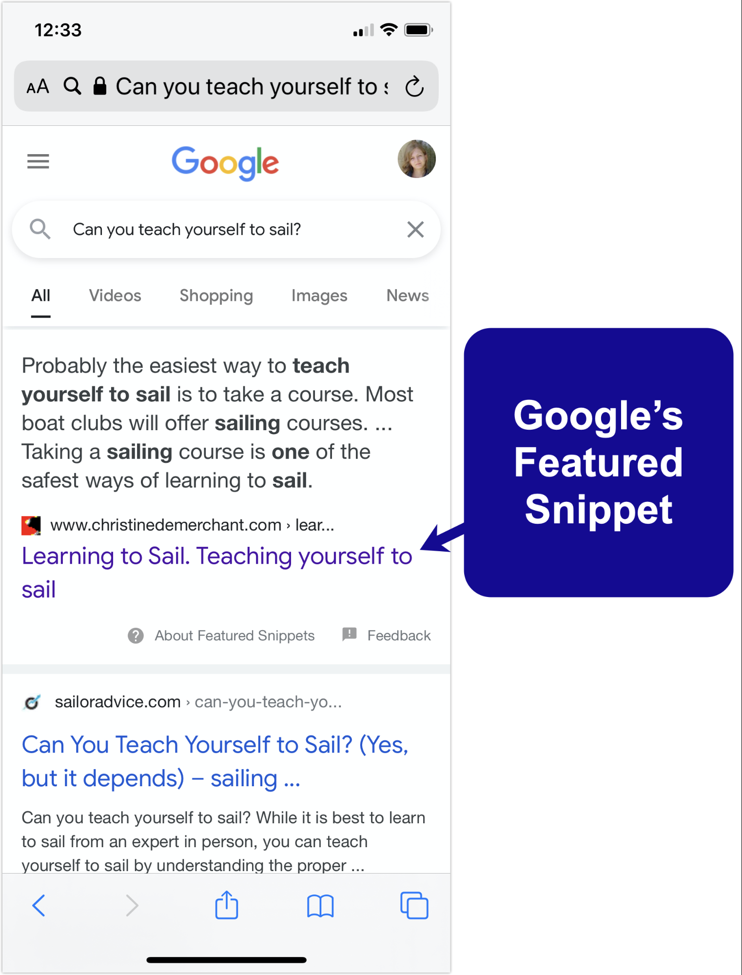 Google's featured snippet example.