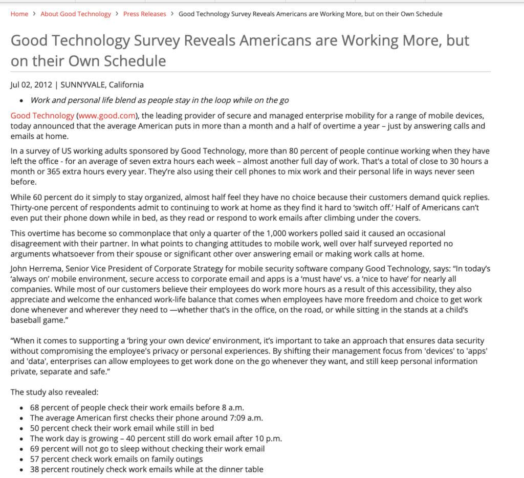 Good Technology survey.