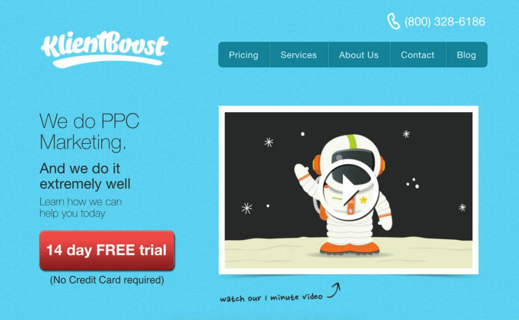 KlientBoost homepage.