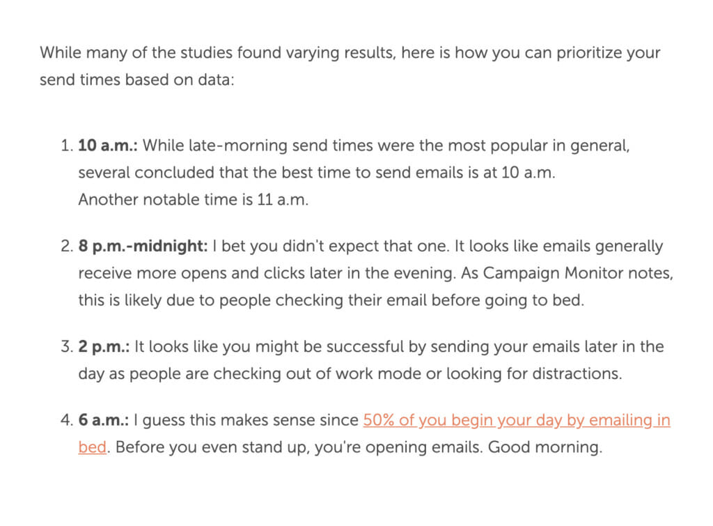 Coschedule email recommendations.