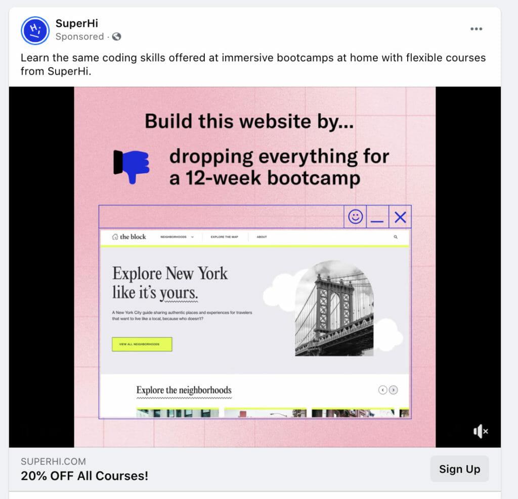 SuperHi Facebook ad.