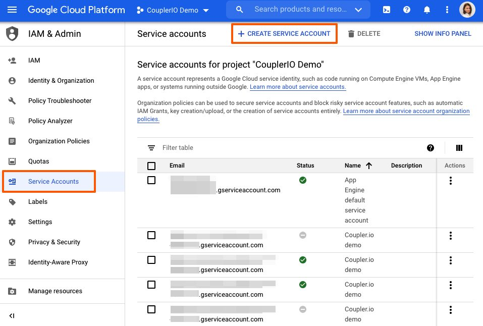 Service accounts, Google Cloud Platform.