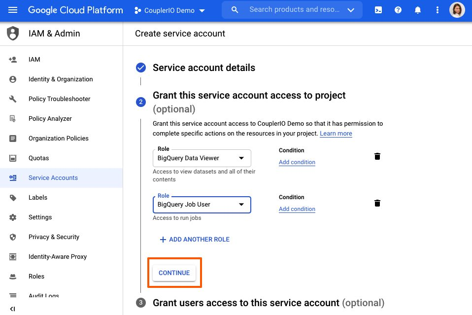 Continue creating service account.