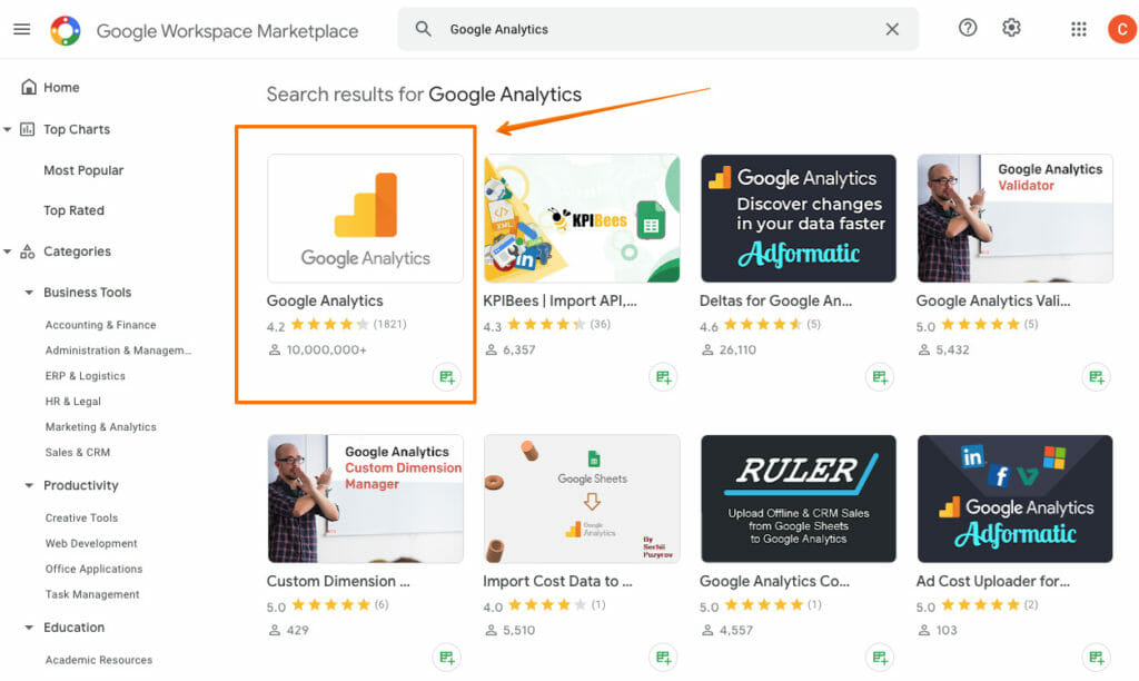 Search for Google Analytics.