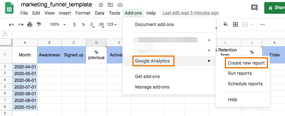 Google analytics create report.