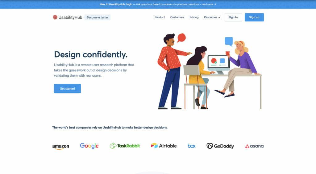 UsabilityHub homepage.
