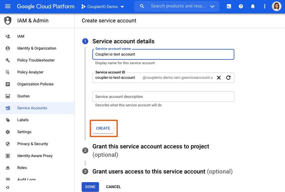 Create service account.