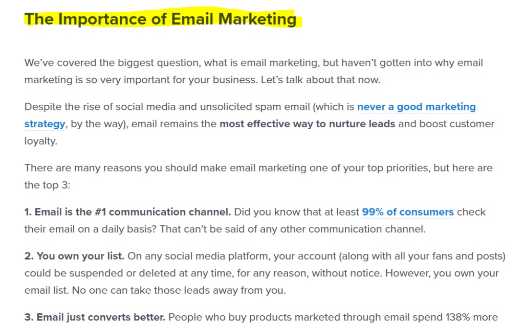 explanation of why email marketing is important.