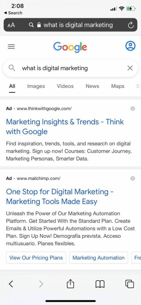 What is digital marketing search on mobile.
