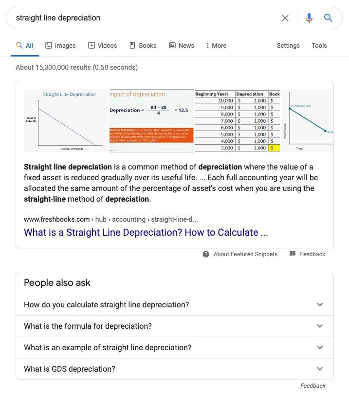Straight line depreciation search.