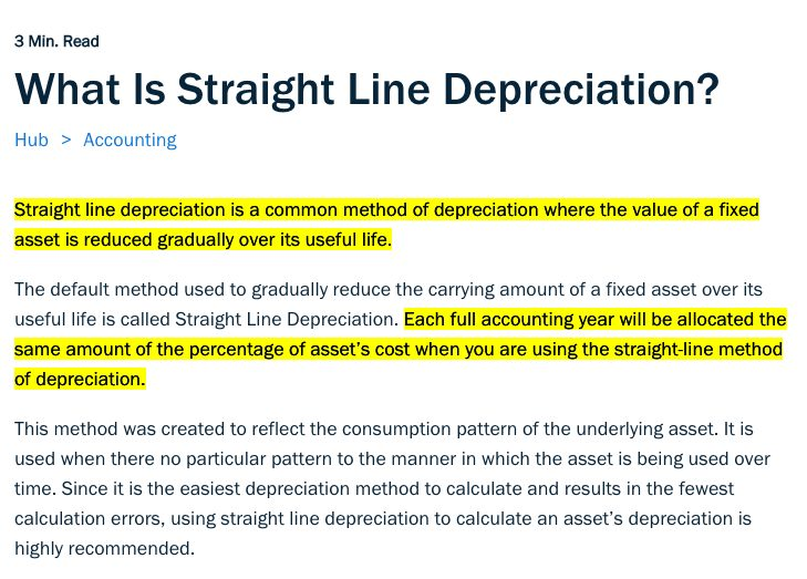 What is straight line depreciation?