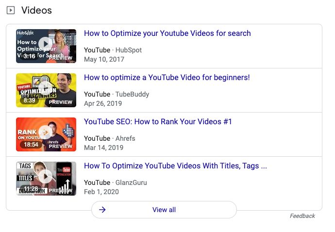 Video carousels example 2A.