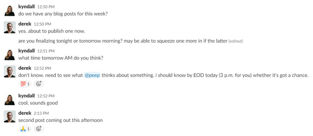 slack conversation about newsletter.