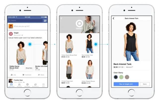 Facebook shopping app example.