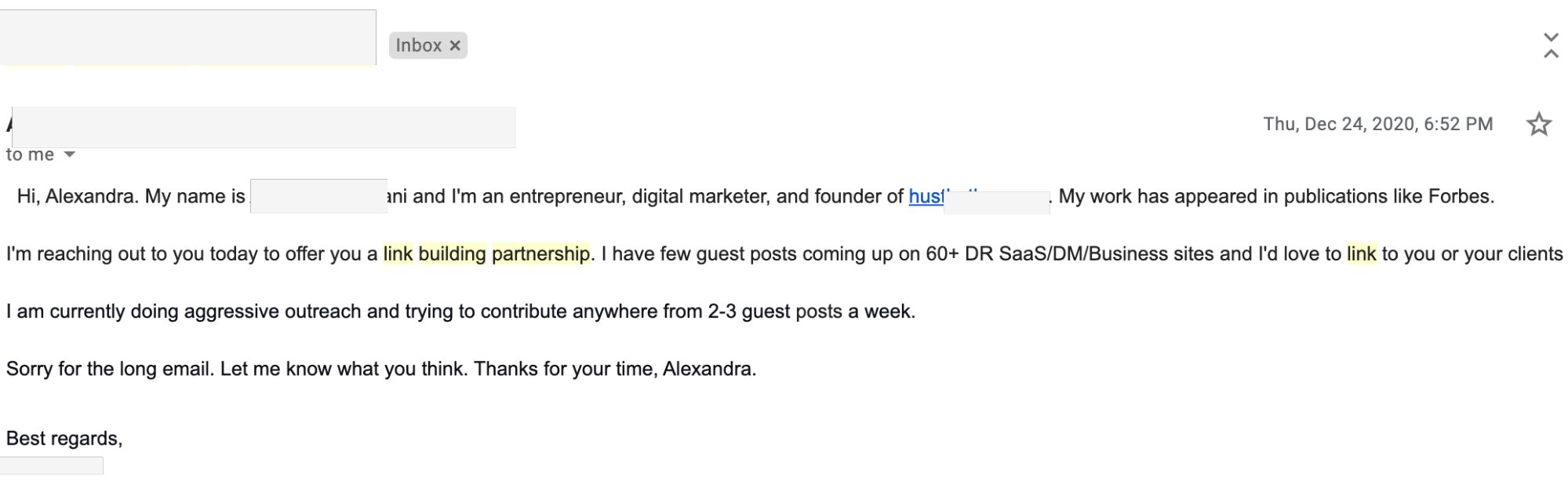 example of outreach email