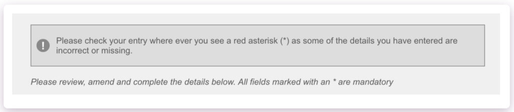 Example of Santander's unhelpful error message