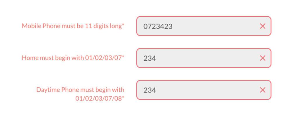 Example of Little Loan's inline error message