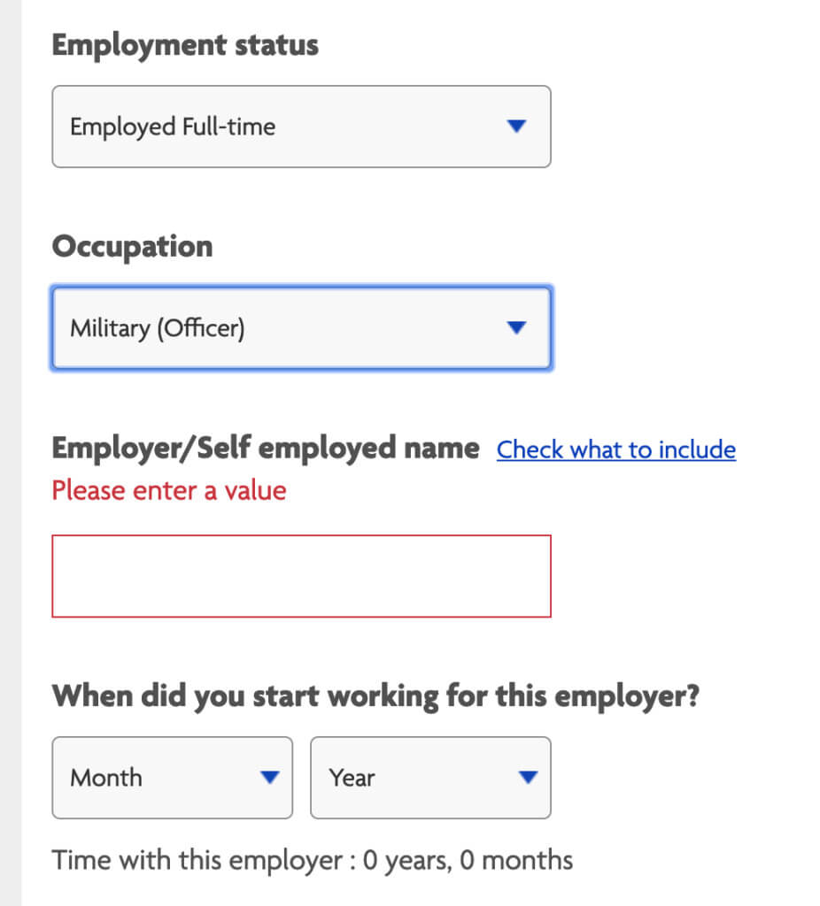 Example of Halifax employment details