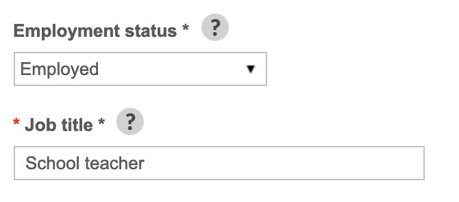 Employer status and job title text box example