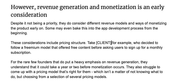 Why revenue generation and monetization should be an early consideration