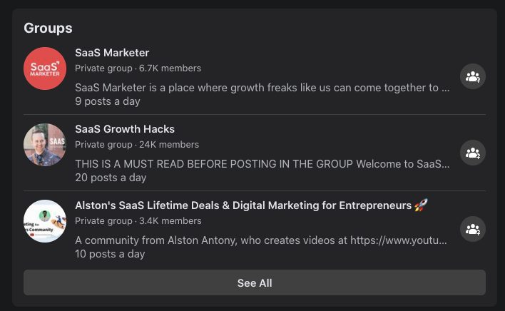 Example of groups within Facebook