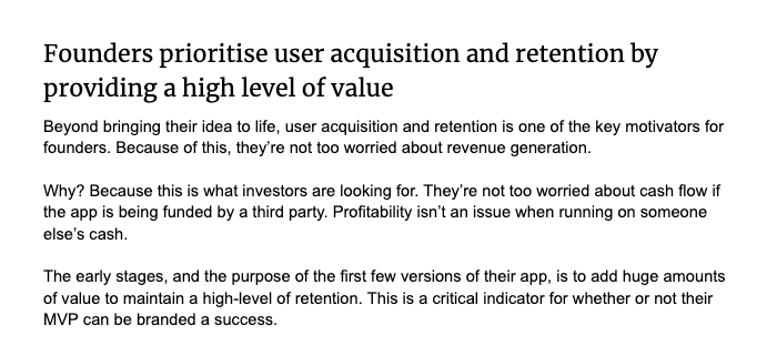 Founder prioritize user acquisition and retention by providing a high level of value