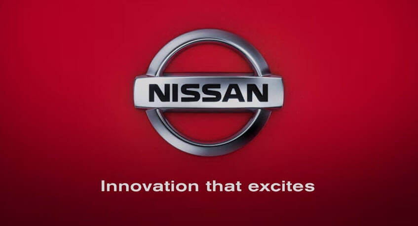 Nissan logo and slogan.