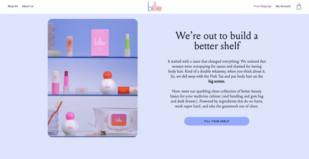 Screenshot of Billie's about page sharing their mission statement